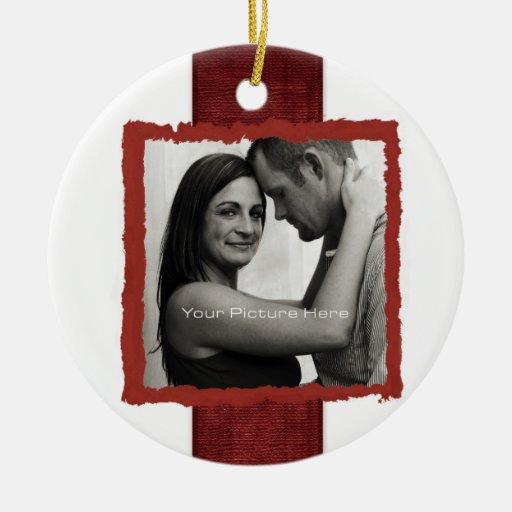 El casarse rústico del navidad de la foto del adorno navideño redondo de cerámica