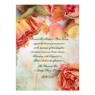 El casarse seco de los rosas del vintage invitación
