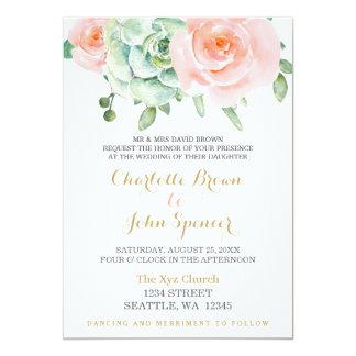 """el casarse suculento de los rosas del melocotón de invitación 5"""" x 7"""""""