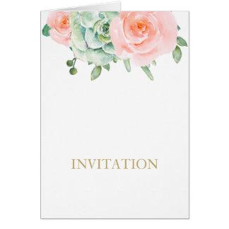 el casarse suculento de los rosas del melocotón de tarjeta de felicitación