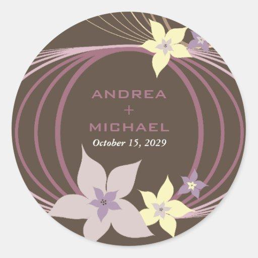 El casarse tropical púrpura de las flores del pegatina redonda