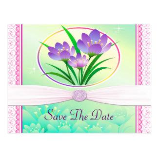 El casarse verde de las flores del rosa en colores tarjeta postal