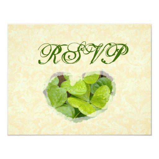 El casarse verde de RSVP de los tréboles Invitación 10,8 X 13,9 Cm