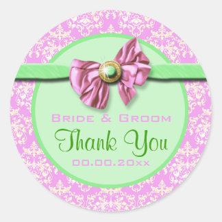 El casarse verde rosado del damasco elegante etiqueta redonda