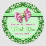 El casarse verde rosado del damasco elegante etiquetas