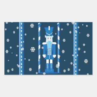 El cascanueces en azul pegatina rectangular