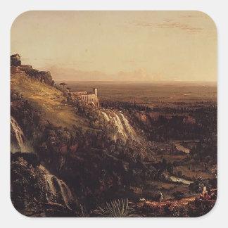 El Cascatelli, Tivoli por el col de Thomas Calcomanías Cuadradas