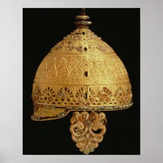 El casco céltico encontró en Agris, Charante, 4to  Póster