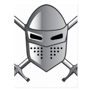El casco del caballero y vector cruzado de las postales