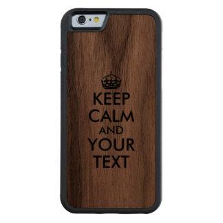 El caso de madera del iphone guarda calma y su funda de iPhone 6 bumper nogal