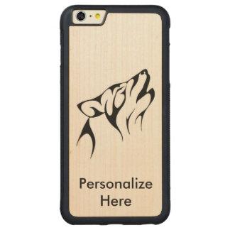 El caso más tallado lobo del iPhone 6 de madera, Funda Para iPhone 6 Plus De Carved® De Nogal