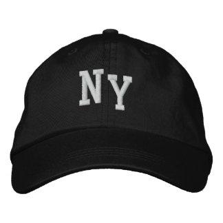 El casquillo de los hombres negros de NY Gorra Bordada