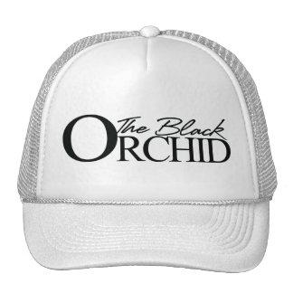 El casquillo negro del camionero de la orquídea gorras