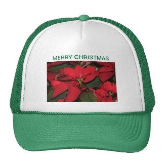 El casquillo, verde, casa el navidad, poinsettia gorra
