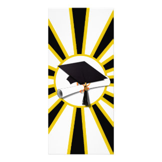 El casquillo y el diploma w/School del graduado Tarjeta Publicitaria A Todo Color