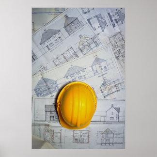 El casquillo y los planes del arquitecto impresiones