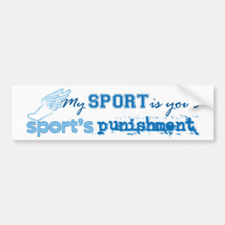 El castigo de su deporte (azul) pegatina para auto