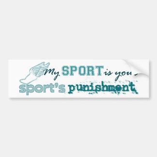 El castigo de su deporte (trullo) pegatina de parachoque