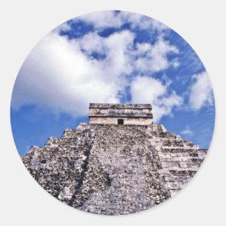 El Castillo-11th Century Mayan/Toltec Ruins Classic Round Sticker