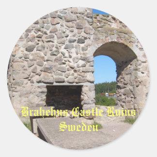 El castillo de Brahehus arruina Suecia Pegatinas Redondas