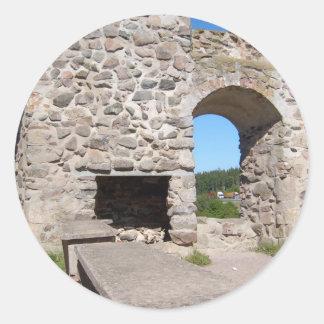 El castillo de Brahehus arruina Suecia Etiqueta Redonda