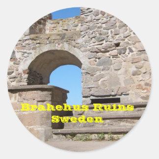 El castillo de Brahehus arruina Suecia Etiquetas Redondas