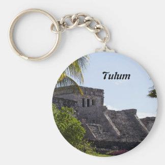 El Castillo de Tulum - Mayan ruins Basic Round Button Keychain