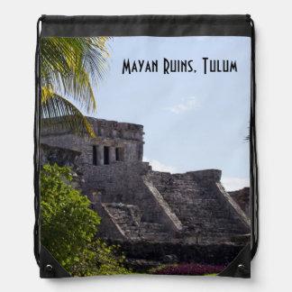 El Castillo de Tulum - Mayan ruins Drawstring Backpack