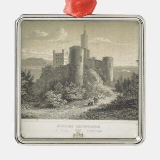 El castillo del ortenberg 1860, Darmstad Adorno Cuadrado Plateado