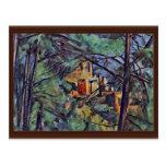 """El castillo francés Noir """"detrás de árboles"""" por P Tarjetas Postales"""