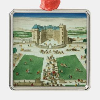 El castillo francés Rambouillet, grabada por Adorno Navideño Cuadrado De Metal