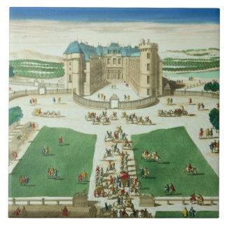 El castillo francés Rambouillet, grabada por Antoi Azulejo Cuadrado Grande