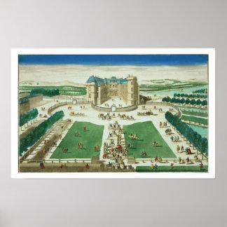 El castillo francés Rambouillet, grabada por Antoi Póster