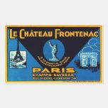 El Castillo Frontenac (París - Francia) Rectangular Pegatinas
