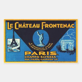 El Castillo Frontenac (París - Francia) Pegatina Rectangular