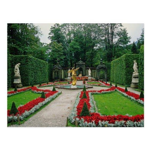 El castillo rojo de Lindenhof, Baviera, Alemania f Postal