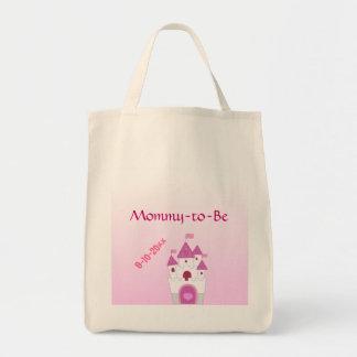 El castillo rosado adorable Mamá-a-Es fiesta de bi Bolsa Tela Para La Compra