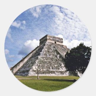 El Castillo-The Castle, Chichen Itza Classic Round Sticker