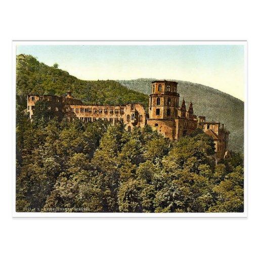 El castillo, visto de la terraza, Heidelberg, mala Postal