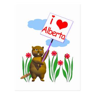 El castor canadiense ama Alberta Tarjeta Postal
