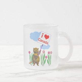 El castor canadiense ama Canadá Taza De Café Esmerilada