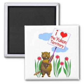 El castor canadiense ama el Yukón Imán Cuadrado