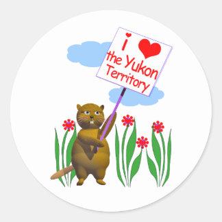 El castor canadiense ama el Yukón Pegatina Redonda