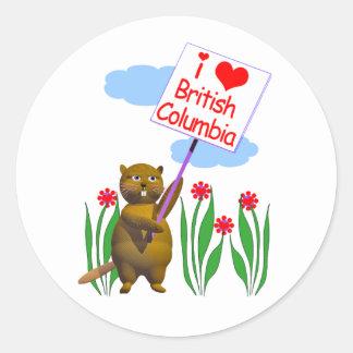 El castor canadiense ama la Columbia Británica Etiqueta Redonda