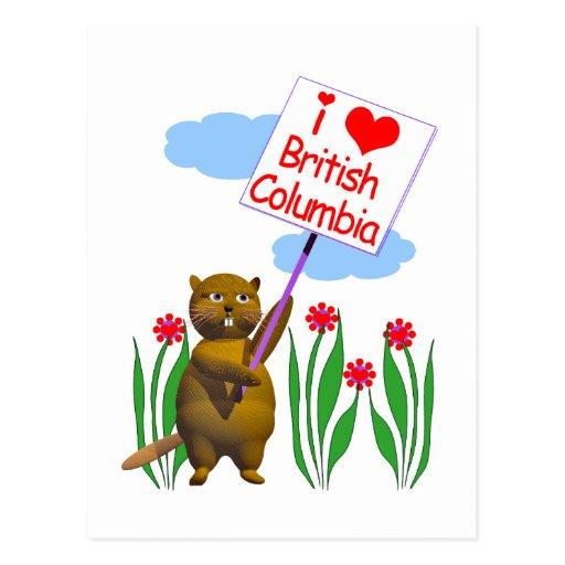 El castor canadiense ama la Columbia Británica Tarjetas Postales