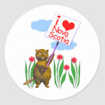 El castor canadiense ama Nueva Escocia Etiqueta Redonda