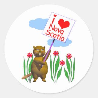 El castor canadiense ama Nueva Escocia Pegatina Redonda