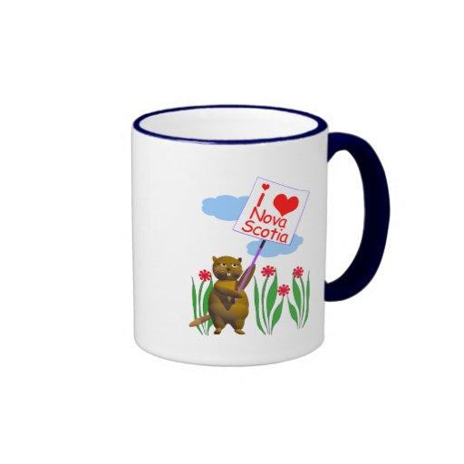 El castor canadiense ama Nueva Escocia Tazas De Café