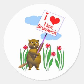 El castor canadiense ama Nuevo Brunswick Pegatina Redonda