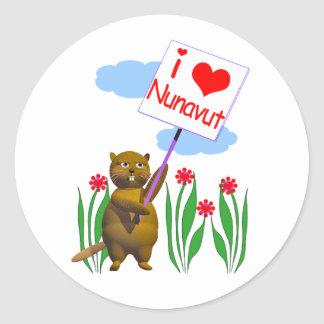 El castor canadiense ama Nunavut Pegatina Redonda